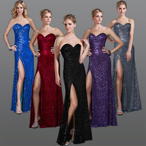 Floor-Length-Strapless-Sequins-Prom-Evening-party-Ball-Gowns-dress-Size-0-10