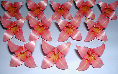 ORIGAMI PAPER HANDMADE 12 MEDIUM PEARL IRIS FLOWERS CUPCAKE TOPPERS TABLE DECO