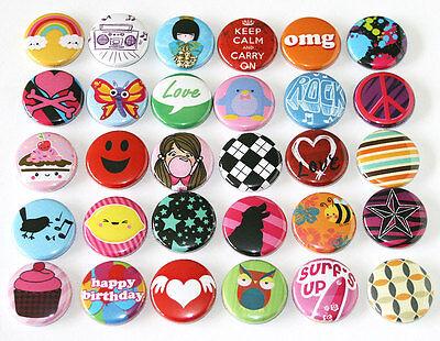 POP FUN Kids Party FASHION BADGES x 30 Button Pins Wholesale Lot 25mm