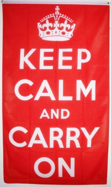 KEEP CALM AND & CARRY ON Red FLAG 5X3 FEET Wartime slogan BRITISH WW2 FLAGS