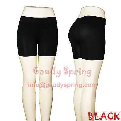 New Seamless Basic Plain Tight Mini Bike Shorts Stretch Spandex Pants XS S M L