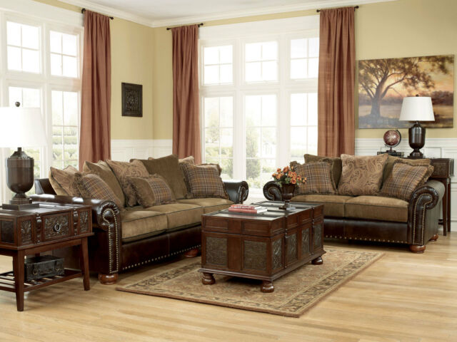 CORDOBA-TRADITIONAL FAUX LEATHER CHENILLE SOFA COUCH & LOVESEAT SET LIVING ROOM