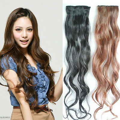 NEW Long Wavy Curly Hairpiece Clip in Hair Slice Extensions Head Accessories J24