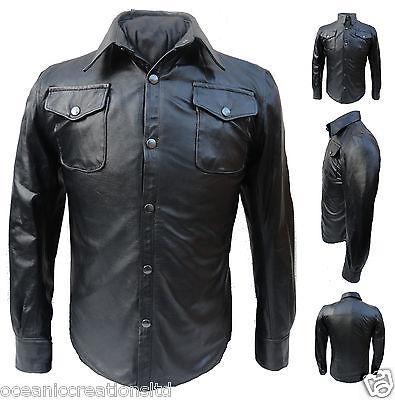 Long Sleeve Trucker Police Military Western Style Uniform Leather Shirt