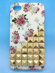 Flower-Bling-Pyramid-Bronze-Studs-Handmade-Studded-Cover-Case-For-iPhone-4G-4S