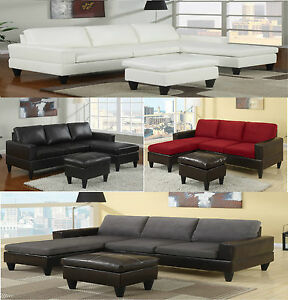 Sectional Sofa in Microfiber and Leather W Free Ottoman Sectional Couch Sofas