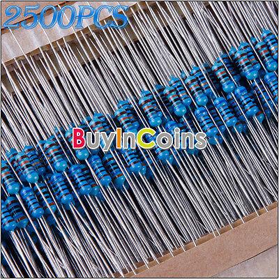 Advanced 2500Pcs 50 Value 1R - 10MR 1/4W Carbon Film Resistors Assortment Kit