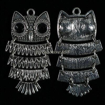 10pcs Tibetan Silver Tone Owl Charms Pendants 47x26mm PJ58