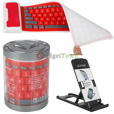 Bluetooth Wireless Waterproof Silicone Roll Up Keyboard for iPad 2/3/4 Red/White