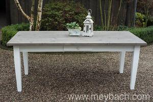 Esstisch massiv weiss  Esstisch Tisch Massiv Esszimmer Landhaus 200 cm mod.01 weiss/grau ...
