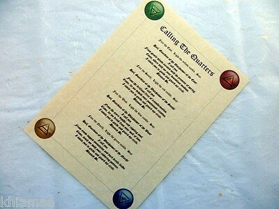 CALLING THE QUARTERS PARCHMENT POSTER wicca pagan art witch book of shadows page