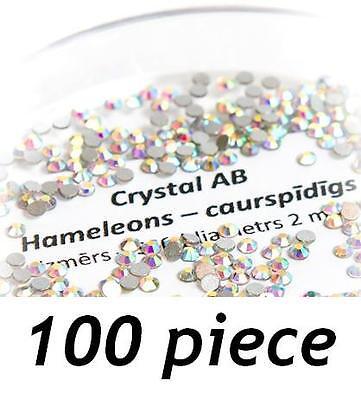 100 piece x Swarovski Flat Back Gems CRYSTAL AB for Nail Lash & Body - 6 sizes