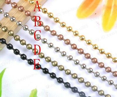 5/10/20pcs Ball Chain Necklace 2.4MM Beads Connector 28inch - Choose Color