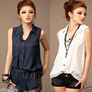 Career-Summer-Women-Sleeveless-Shirt-Chic-Tank-Top-Blouse-Belt-2-Solid-Colors-Z
