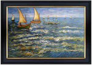 Framed-Van-Gogh-Sea-at-Saintes-Maries-Repro-Hand-Painted-Oil-Painting-24x36in