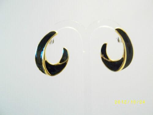 ART DECO STYLE ENAMEL CURL STUD EARRINGS VINTAGE 1980s NEW STYLISH  JEWELLERY