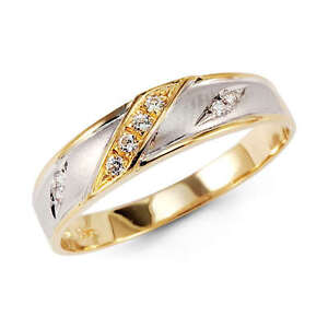 details about 14k yellow 2 tone gold round cz mens wedding ring band