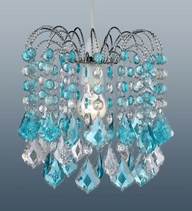 Turquoise Blue Acrylic Crystal Pear Drops Chandelier Ceiling Light Pendant Ebay