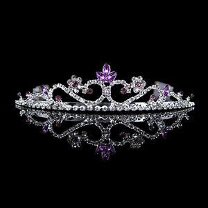 Image Is Loading 3cm High Wedding Prom Purple Crystal Bridal Flower