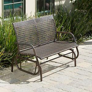 Outdoor Patio Furniture Brown Pe Wicker Glider Swinging
