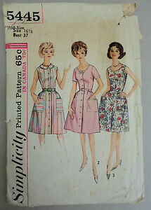 Simplicity-1964-Sewing-Pattern-5445-sz-16-1-2-Shirt-Style-Dress-Scoop-Neck