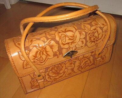 b63f656619 Vintage 60 s   70 s Tooled Leather Floral Pattern Bag Made in Mexico