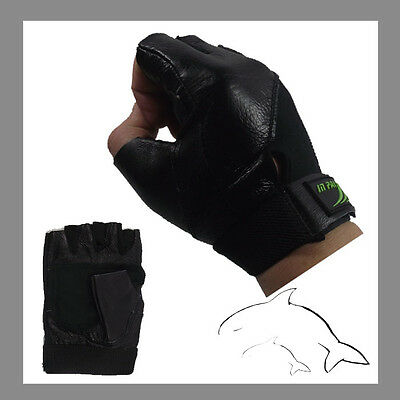 -- Cow  Leather -- GYM Gloves- weight fitness cycling men woman lady #A021BLK