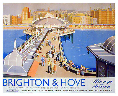Vintage Brighton & Hove Railway Poster A3 / A2 Print