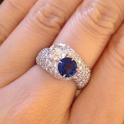 1.13 ct Diamond and 1.08 ct Sapphire Bypass Pave Ring 2.81 cts total - HM967