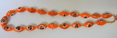 Antique Venetian Murano Orange Feather Beads Glass Necklace