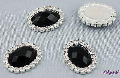 Lot 10 Black Rhinestone Crystal Oval Diamante Cluster Scrapbooking DIY Craft