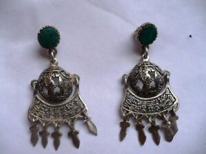 BEAUTIFUL STERLING SILVER, EARRINGS FROM PERU SOLID TURQUOISE STONE