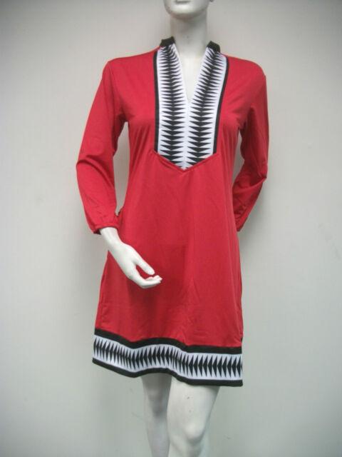 Tracy Negoshian Linda Dress Red Black Jersey Knit  3/4 Sleeve NEW NWT