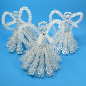 Vintage Beaded Christmas Ornament Decor Lot of 3 Angels ...