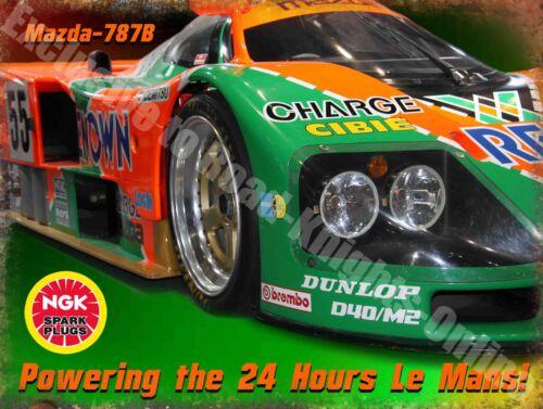 Motor Racing NGK Mazda-787B Le Mans Oil Garage Race Car Large Metal/Tin Sign