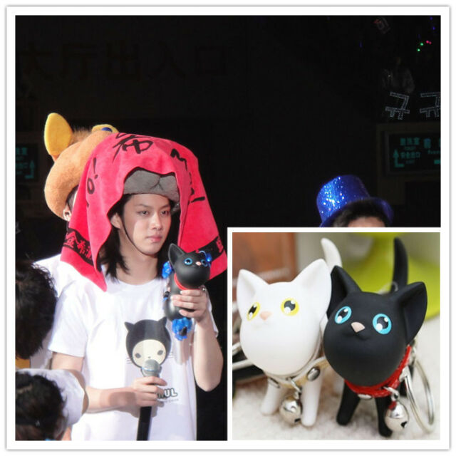 2X Heechul Cat Keychain Bag Pendant KPOP Super Junior White Black Cat Keyring