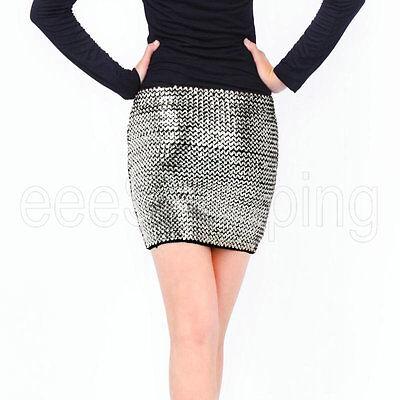 New Fashion Women Girl Sexy Bandage Sequin Glitter Club Party Evening Mini Skirt