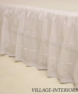 JOLIE-SHABBY-ROMANTIC-CHIC-WHITE-COTTON-18-DROP-KING-BED-SKIRT-DUST-RUFFLE