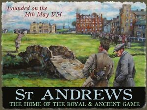 Golf-St-Andrews-Royal-amp-Ancient-Golf-Club-Course-Scotland-Small-Metal-Tin-Sign