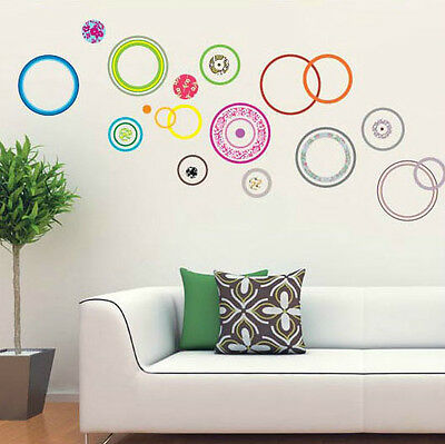 Colourful Circles Room Decal Wall Stickers UK Seller Art Decor Home DIY Decals