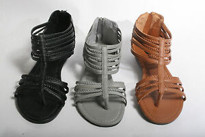 New-Womens-Gladiator-Strappy-Sandals-Shoes-Black-Brown-Gray-size-6-7-8-9-10-11