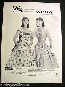 Vintage-1956-Pretty-Girls-in-Summer-Dresses-by-Jr-Flair-50-039-s-Fashion-Print-Ad