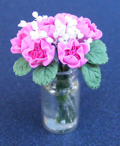 1-12-Scale-Pink-Roses-In-A-Glass-Jar-Dolls-House-Miniature-Garden-Accessory