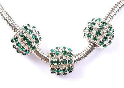 2PCS green  crystal silver European big hole charm beads 12MM SH1162