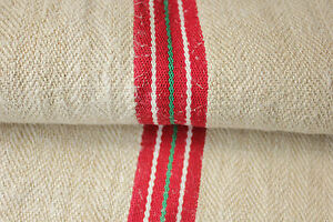 Vintage-GRAIN-SACK-feedsack-European-red-and-GREEN-stripe-Christmas-fabric-bag