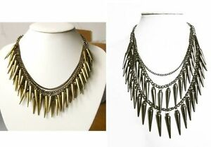 3-Colors-Punk-Rock-Multi-Layer-Spike-Rivets-Tassel-Club-Party-Jewelry-Necklace