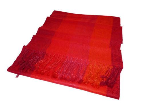 Longschal écharpe foulard étole motif franges bleu rouge vert noir turquoise crème