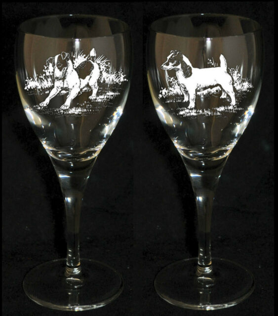 JACK RUSSELL GIFT - Boxed PAIR WINE GLASS *DOG GIFT*