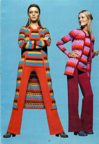 Vintage Machine knitting pattern-Twiggy models 1960s mod midi jacket & jumper