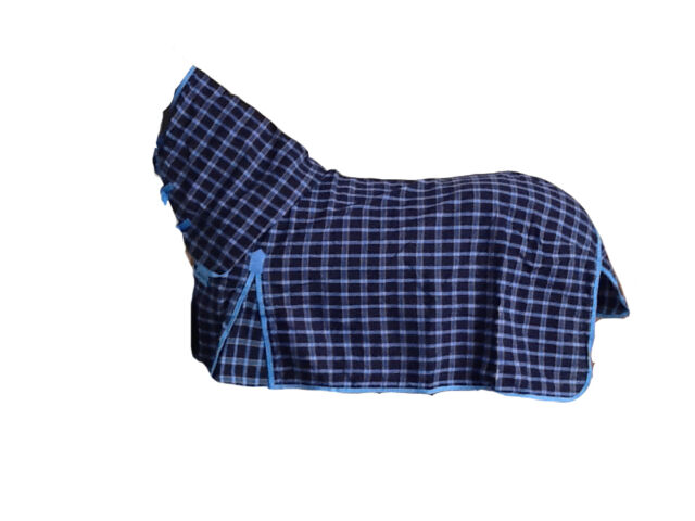 AXIOM PC BLU & NAVY CHECK RIPSTOP UNLINED HORSE COMBO RUG 6'6